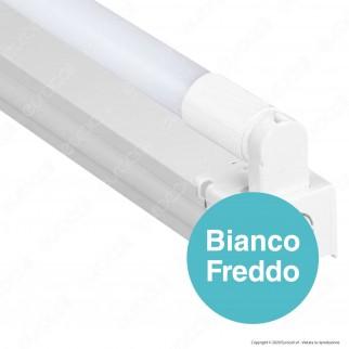 V-Tac PRO VT-12026 Plafoniera Singola con Tubo LED Nano Plastic T8 G13 18W Chip Samsung Lampadina 120cm - SKU 6442 / 6443