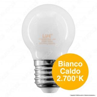 Life Lampadina LED E27 Filament 4W MiniGlobo G45 Milky Vetro - mod. 39.920257CM / 39.920257CM3 / 39.920257NM / 39.920257FM