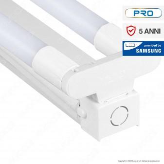 V-Tac PRO VT-12027 Plafoniera Doppia con 2 Tubi LED Nano Plastic T8 G13 18W 120cm Chip Samsung - SKU 6444 / 6445