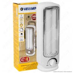 Velamp Lampada LED 12W Portatile con Luce di Emergenza Anti Black Out a Batteria Ricaricabile - mod. IR162