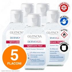 5 Flaconi da 80ml di Glenova Dermogel Gel Igienizzante Mani Alcolico Sanificante Efficace Contro Germi e Batteri
