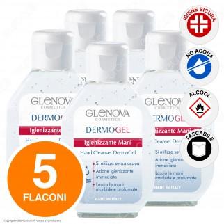 5 Flaconi da 80ml di Glenova Dermogel Gel Alcolico Sanificante Igienizzante Mani Efficace Contro Germi e Batteri