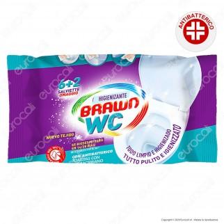 Salviette Brawn SOS WC Igienizzanti con Antibatterico e Biodegradabili - Confezione da 8 Salviette