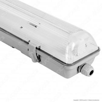 Life Plafoniera Singola Impermeabile per Tubi LED T8 da 60cm - mod. 39.PFL0106
