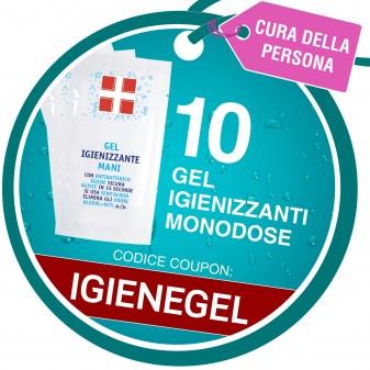 10 Bustine Monodose di GEL Igienizzante Mani con Antibatterico Omaggio - Coupon IGIENEGEL