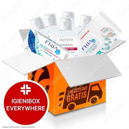 IgieniBox Everywhere 5 Flaconi da 80ml Gel Igienizzante Mani + 1 Confezione da 48 Salviette Fria + 1 Confezione da 12 Salviette