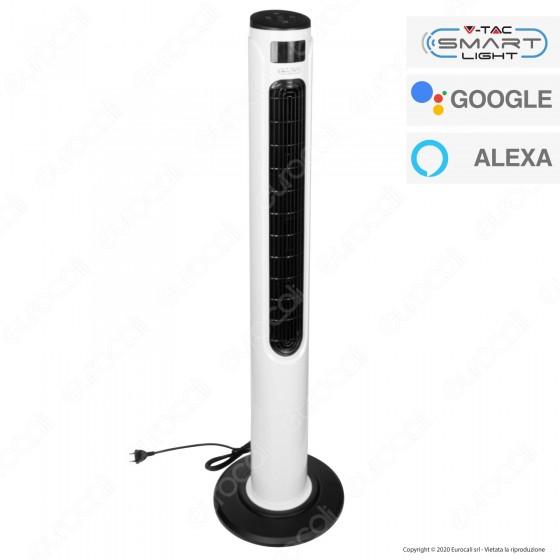 V-Tac Smart VT-5566 Smart Tower Fan Ventilatore Wi-Fi con Display Temperatura e Telecomando Colore Bianco - SKU 7927