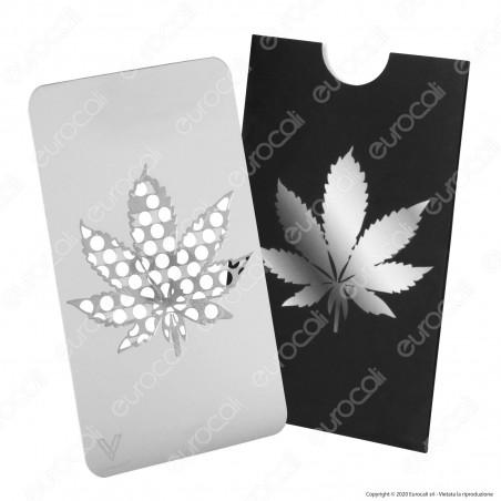 Grinder Card Formato Tessera Tritatabacco in Metallo - Leaf Design