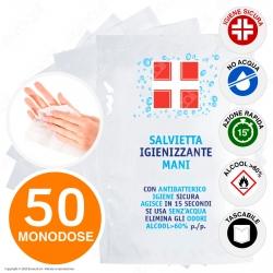 Salvietta Igienizzante Mani Antibatterico con Alcool Efficace Contro Germi e Batteri - 50 Bustine Monodose