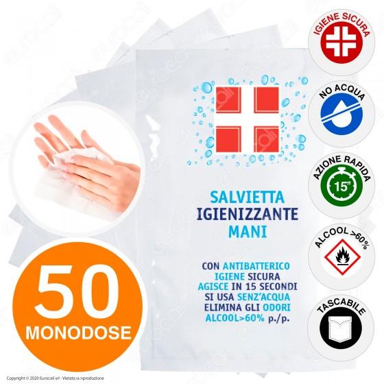 Salvietta Disinfettante Igienizzante Mani Antibatterico con Alcool Efficace Contro Virus e Batteri - 50 Bustine Monouso