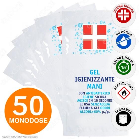 50 Bustine Monouso Gel Disinfettante Igienizzante Mani Antibatterico con Alcool Efficace Contro Virus e Batteri da 6ml