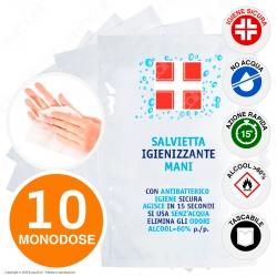 Salvietta Igienizzante Mani Antibatterico con Alcool Efficace Contro Virus e Batteri - 10 Bustine Monodose