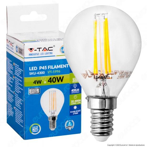 V-Tac VT-1996 Lampadina LED E14 4W MiniGlobo Filamento P45 - SKU 4300 / 4425 / 4426