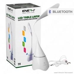 Ener-J Lampada Smart da Tavolo LED 6W con Speaker Bluetooth e Batteria Ricaricabile Colore Bianco - mod. T11WHITE