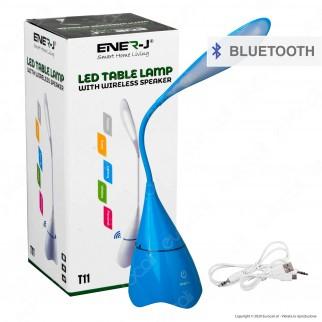 Ener-J Lampada Smart da Tavolo LED 6W con Speaker Bluetooth e Batteria Ricaricabile Colore Blu - mod. T11BLUE