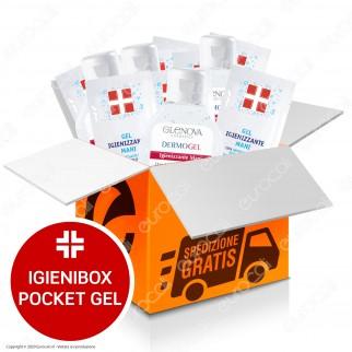 IgieniBox Pocket 5 Flaconi da 80ml Gel Alcolico Igienizzante Mani + 50 Bustine Gel Monouso con Antibatterico