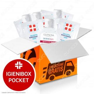 IgieniBox Pocket 5 Flaconi da 80ml Gel Alcolico Igienizzante Mani + 50 Salviette Monodose con Antibatterico