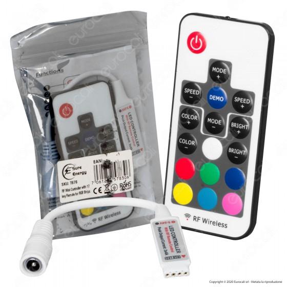Sure Energy Controller Dimmer a Radiofrequenza per Strisce LED RGB 24V con Telecomando - mod. T676