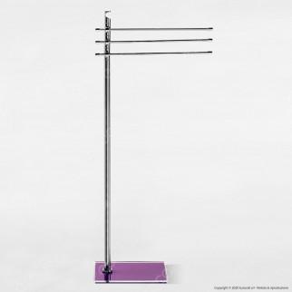 Piantana in Metallo Porta Asciugamani con Base in Plexiglass Colorato - PT18