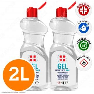 Gel Alcolico Igienizzante Mani con Antibatterico Efficace Contro Germi Virus Funghi e Batteri - 2 Flaconi da 1 Litro