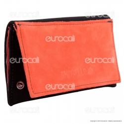 Il Morello Classic Portatabacco in Vera Pelle Arancione e Tessuto Nero