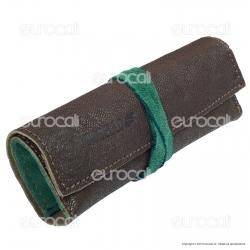 Il Morello Large Portatabacco in Vera Pelle Colore Marrone e Verde