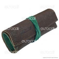 Il Morello Large Portatabacco in Vera Pelle Marrone e Verde