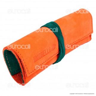 Il Morello Large Portatabacco in Vera Pelle Arancione e Verde Smeraldo
