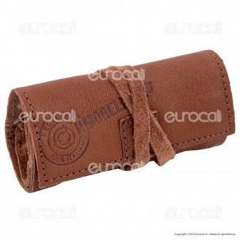Il Morello Pocket Mini Portatabacco in Vera Pelle Colore Marrone Cuoio