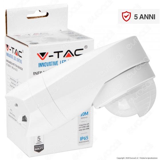 V-Tac VT-8094 Sensore di Movimento a Infrarossi IP65 per Lampadine LED Colore Bianco - SKU 6613