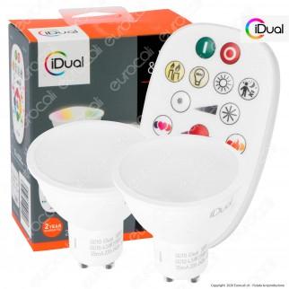 iDual Kit 2 Lampadine LED GU10 Faretti 100° Multifunzione RGB+W 4,5W con Telecomando - mod. JE001820200