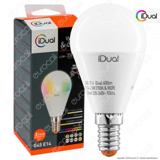 iDual Lampadina LED E14 MiniGlobo P45 Multifunzione RGB+W 4,5W - mod. JE004810000