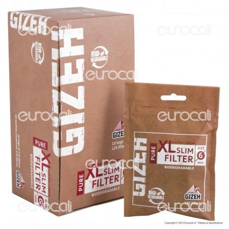 Gizeh Pure Slim Extra Lunghi 6mm Biodegradabili - Box 10 Bustine da 120 Filtri