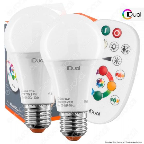 iDual Kit da 2 Lampadine LED E27 Bulb A60 Multifunzione RGB+W 9W con Telecomando - mod. JE002820200