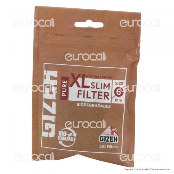 Gizeh Pure Slim Extra Lunghi 6mm Biodegradabili - Bustina da 120 Filtri