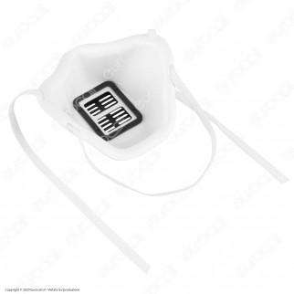 Mascherina Filtrante Rigida in Plastica Colore Bianco Pluriuso Igienizzabile con 10 Filtri in TNT 3 Strati