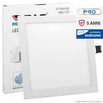 V-Tac PRO VT-624 SQ Pannello LED Quadrato 24W SMD da Incasso con Driver con Chip Samsung - SKU 721 / 722 / 723