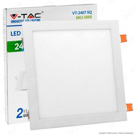 V-Tac VT-2407 SQ Pannello LED Quadrato 24W SMD da Incasso con Driver - SKU 4887 / 4888 / 4889
