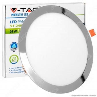 V-Tac VT-2407RD Pannello LED Rotondo 24W SMD Cromato da Incasso con Driver - SKU 6352 / 6353 / 6354