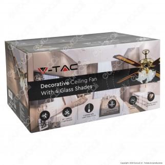 V-Tac VT-6056-4 Ventilatore da Soffitto 60W 4 Pale con Portalampada per 4 Lampadine LED E27 - SKU 7921