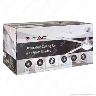V-Tac VT-6054-4 Ventilatore da Soffitto 35W con Portalampada per Lampadine LED E27 e Telecomando - SKU 7918
