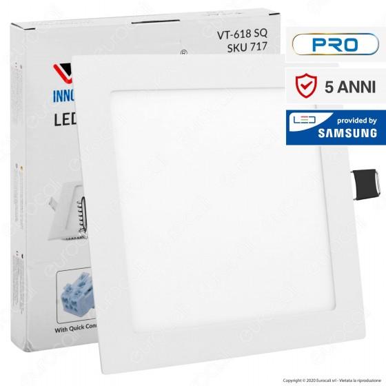 V-Tac PRO VT-618 SQ Pannello LED Quadrato 18W SMD da Incasso con Driver con Chip Samsung - SKU 715 / 716 / 717
