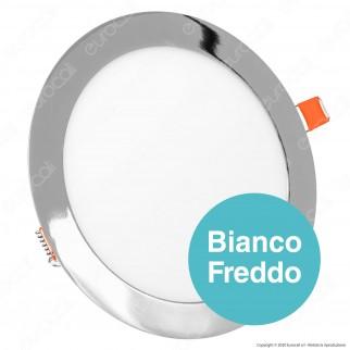 V-Tac VT-1807RD Pannello LED Rotondo 18W SMD Cromato da Incasso con Driver - SKU 6346 / 6347 / 6348