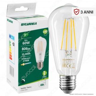 Sylvania ToLEDo Retro Lampadina LED E27 7W Bulb ST64 Filament Dimmerabile - mod. 28465
