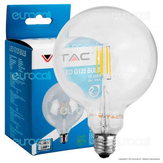 V-Tac VT-1983 Lampadina LED E27 6W Globo G125 Filamento