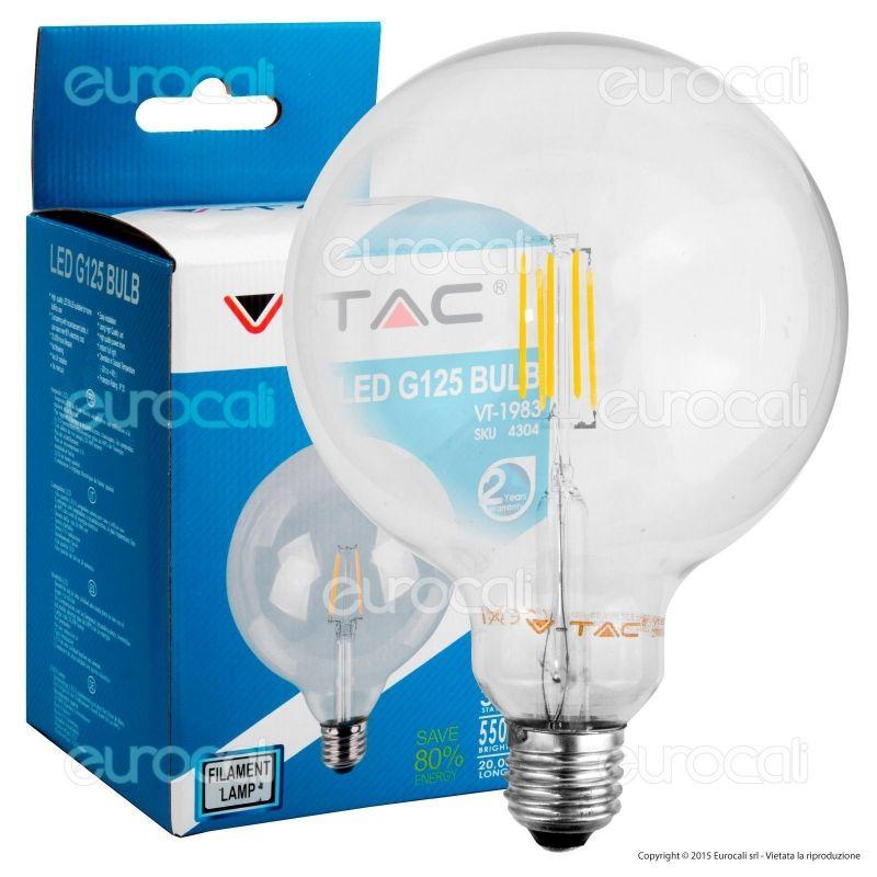 V Tac VT 1983 Lampadina LED E27 6W Globo G125 Filamento -> Lampadine Globo Led Trasparente