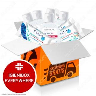 IgieniBox Everywhere 5 Flaconi da 80ml Gel Igienizzante Mani + 5 Confezioni da 12 Salviette Fria