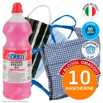 10 Mascherine Lavabili Sartoriali Boccadamo Sterilizzabili in Cotone e TNT 60gr/mq + 500ml Alcool Etilico 90° in Omaggio