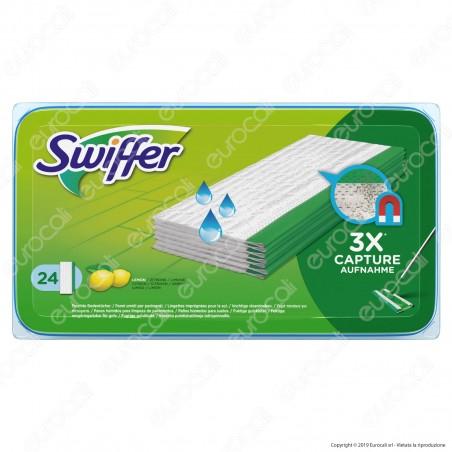 Swiffer Wet Panni Umidi al Limone per Scopa Lavapavimenti - Confezione da 24 Panni