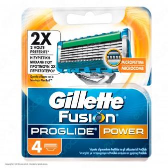 Gillette Fusion Proglide Power Lamette per Rasoio da Uomo - Confezione da 4 Ricariche
